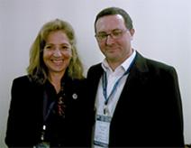 Lia Daichman, M.D., congratulating Jos� F. Alves